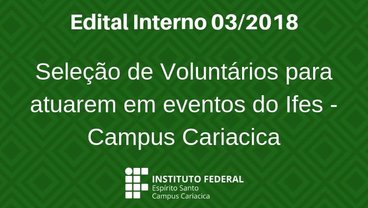 Edital de seleção de Voluntários