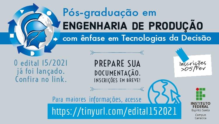 Abertas as inscrições para processo seletivo de Pós-graduação em Engenharia de Produção